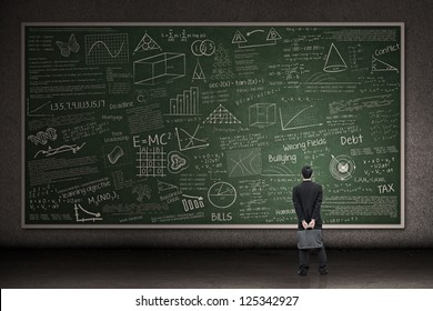 Businessman is looking at a huge hand drawn chalkboard in a classroom
