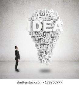businessman looking to idea symbol