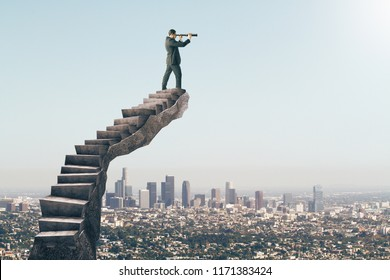 Businessman looking into the distance on abstract stairs. City background. Vision and employment concept