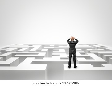 Businessman looking at the maze