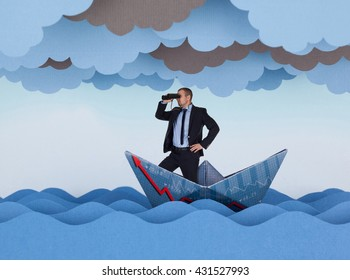 Businessman looking for new opportunities and sailing in stormy papers sea. Paper waves, clouds and boat.