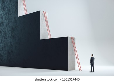 Businessman looking on big red ladder. Success and forward concept.