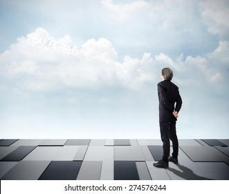 """Businessman looking on sky front and he see word """"free"""" inside cloudy by ambitious. Business Concept"""