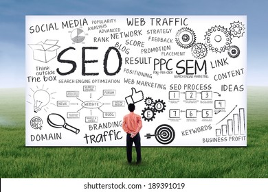 Businessman looking at seo design on whiteboard. Shot outdoors