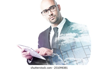 Businessman looking sideways double exposure isolated on white