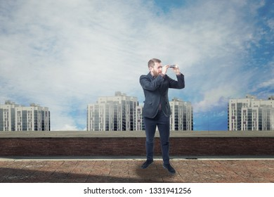 A businessman looking with spyglass for best deal. 3d render elements in collage