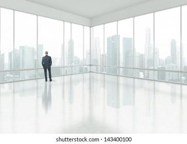 Businessman looking through the window