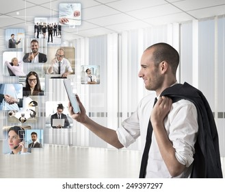 Businessman looks at his team to action