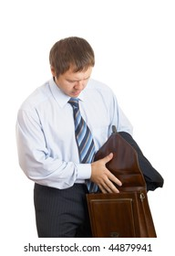 The businessman looks on opened a portfolio