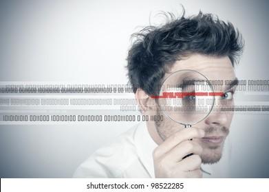 Businessman looks for the virus