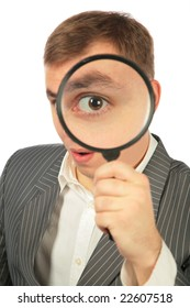 businessman with magnifying glass