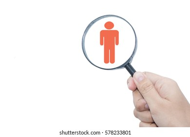 Businessman with magnifying glass. Human resources, CRM, data mining, assessment center and social media concept - officer looking for employee represented by icon.