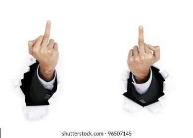 Businessman make a fuck sign by use his hands