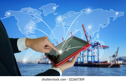 businessman make order online worldwide , fast and instant shipping , business idea concept