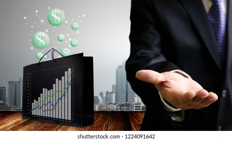Businessman make profit from growth of shopping