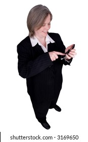 Businessman making a cell phone call isolated over white with a clipping path