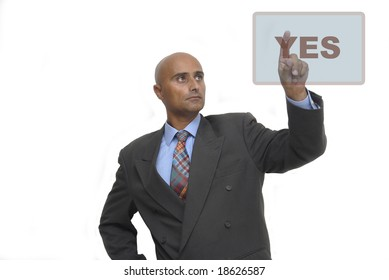Businessman making choices isolated against a white background