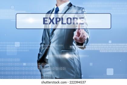businessman making decision on explore