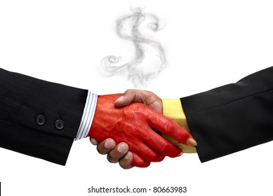 Businessman making a pact with the devil