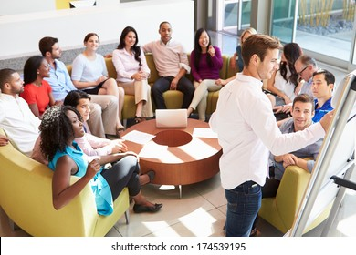 Businessman Making Presentation To Office Colleagues