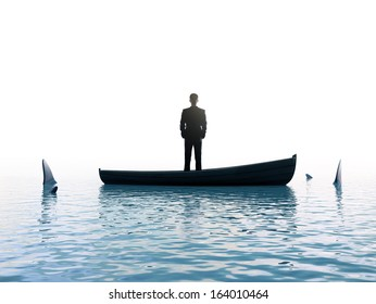 businessman man thinking  boat with sharks around him