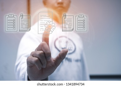 Businessman Manager hands touching documents reports paperworks of files iot icon  for paperless concept : Sign press on digital screen data system on document report HR techonlogy form office.