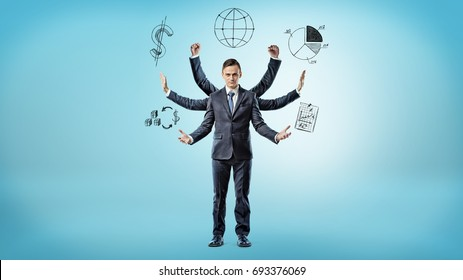 A businessman with many hands surrounded by pictures of graphs, data and statistics. Business accounting. Company data. Counting profits..
