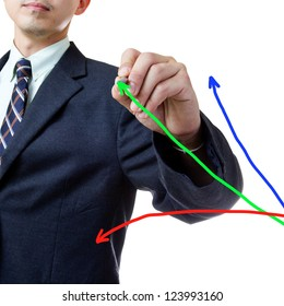 Businessman with mark writing growing graph in studio