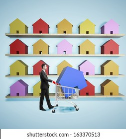businessman in market buying cottage