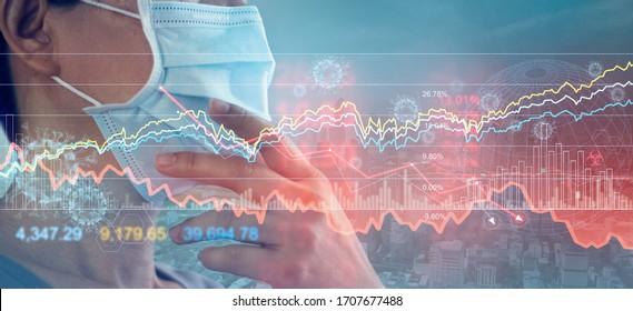 Geschäftsmann mit Maske, Analysis Corona Virus wirtschaftliche Auswirkungen, Krise und wirtschaftliche Bedingungen in der globalen Fälligkeitsinks Börsen, Lagerbestände fallen, Auswirkungen des Ausbruchs und pandemische covid-19