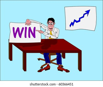 """businessman with massage """"win"""" and a statistic on the wall"""