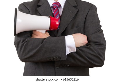 businessman with a megaphone on white background