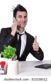 businessman with mobile phone making ok