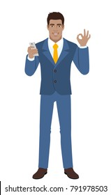 Businessman with mobile phone showing a okay hand sign. Full length portrait of Black Business Man in a flat style. Raster illustration.