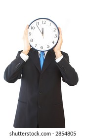 businessman with modern clock on white background