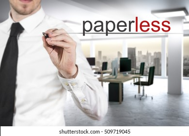 businessman in modern digital office writing paperless office