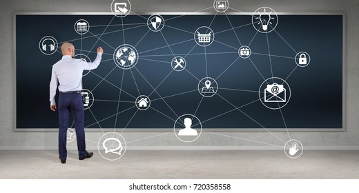 Businessman in modern interior using social network interface on a board 3D rendering