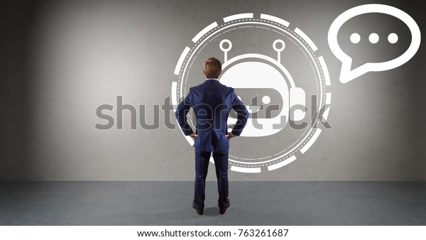 Businessman in modern interior watching chatbot application on a wall 3D rendering