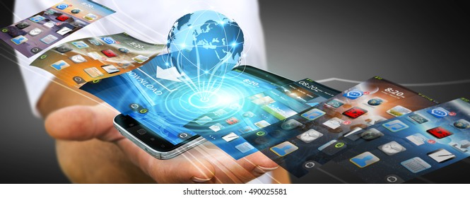 Businessman with modern mobile phone in his hand switching pictures 3D rendering