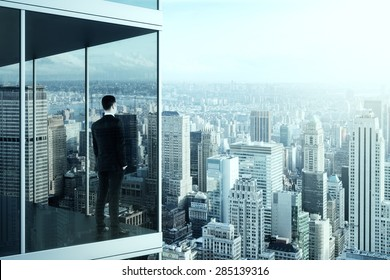 businessman in the modern office building