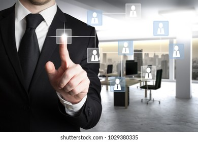 businessman in modern office with social network structure, leadership, management concept