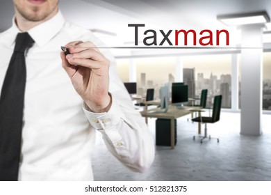 businessman in modern office writing taxman in the air