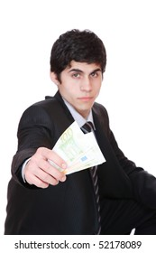 businessman with money, euro notes