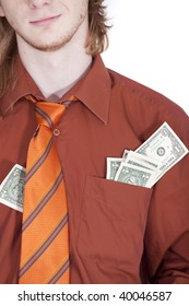 businessman with money in his shirt pocket on white background