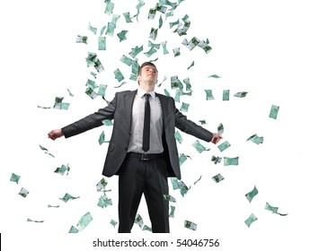 businessman and money rain isolated on white background
