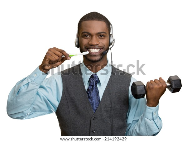 Businessman multitasking. Portrait corporate business man talking on phone, brushing teeth, lifting dumbbell isolated white background. Positive face expression, emotion. Phone addiction concept