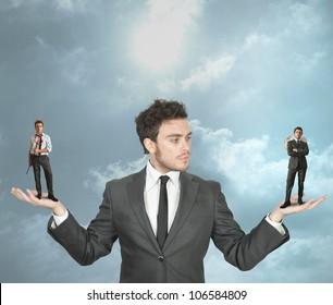 Businessman must choose between the devil or angel