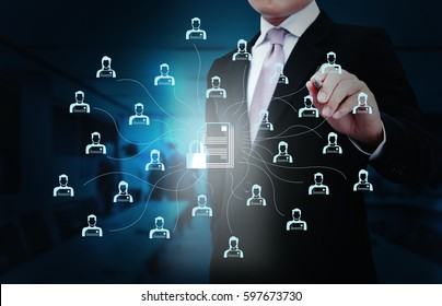 Businessman with network security technology.