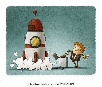 Businessman next to a rocket presses the launch button. Business concept.