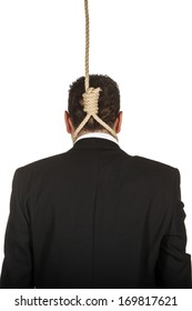 Businessman with noose around his neck viewed from behind